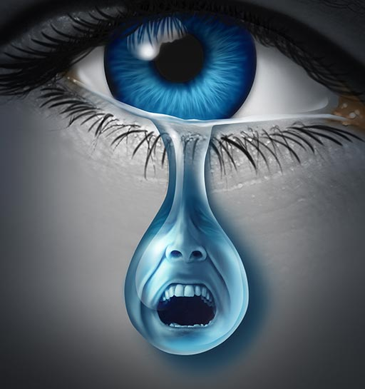 Blue eye with a tear holding a crying face
