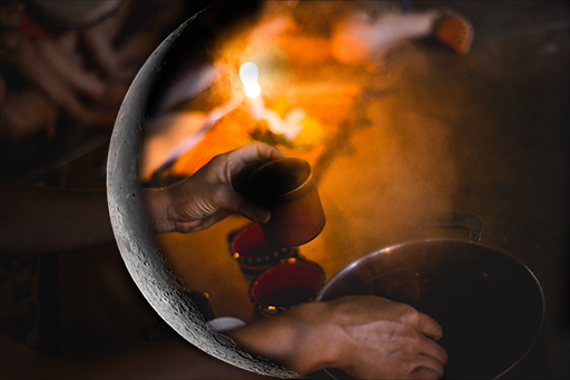 New Moon with cup and fire