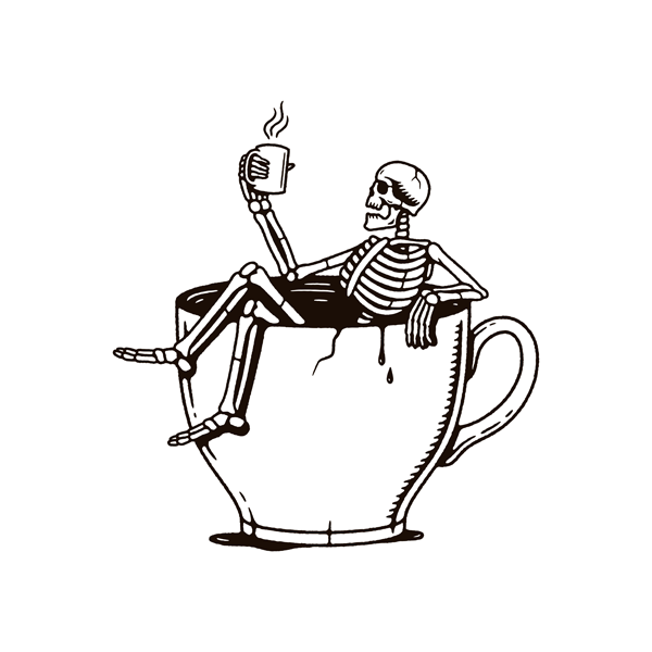 skellington in a coffee cup